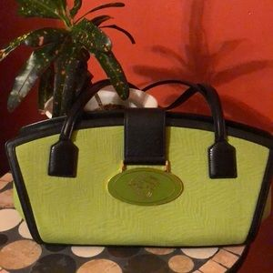 Gianni Versace Lime / Black Leather  w Logo Snap